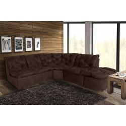 Canapé d'angle modulable en tissu vieilli marron Yolinda