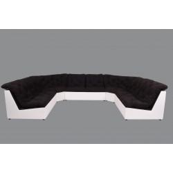 Canapé d'angle panoramique modulable en tissu noir/PVC blanc Yolinda