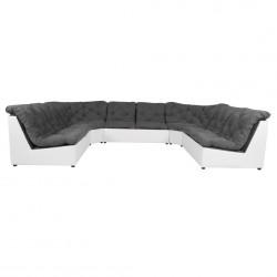 Canapé d'angle panoramique modulable en tissu gris/PVC blanc Yolinda