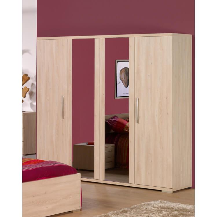 Armoire adulte contemporaine 4 portes coloris chêne Alicia