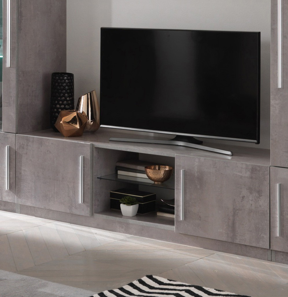 Meuble TV design 156 cm laqué marbre Clarissa