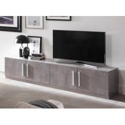 Meuble TV design 208 cm laqué marbre Clarissa