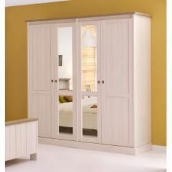Armoire contemporaine 212 cm beige cristal/mélèze Syria II