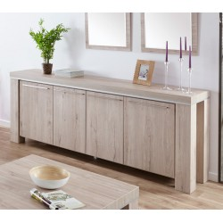 Buffet/bahut contemporain 244 cm chêne gris clair Arizona