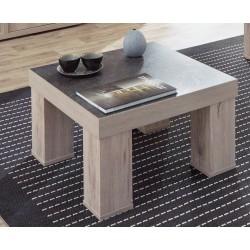 Table basse carrée contemporaine chêne clair/gris béton California