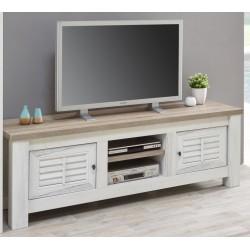 Meuble TV contemporain coloris chêne blanchi/marron clair Tapagos
