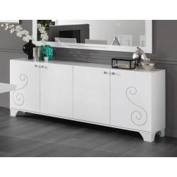Buffet/bahut design 208 cm laqué blanc brillant Britany