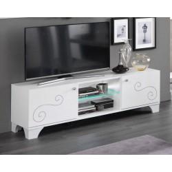 Meuble TV design 156 cm laqué blanc brillant Britany