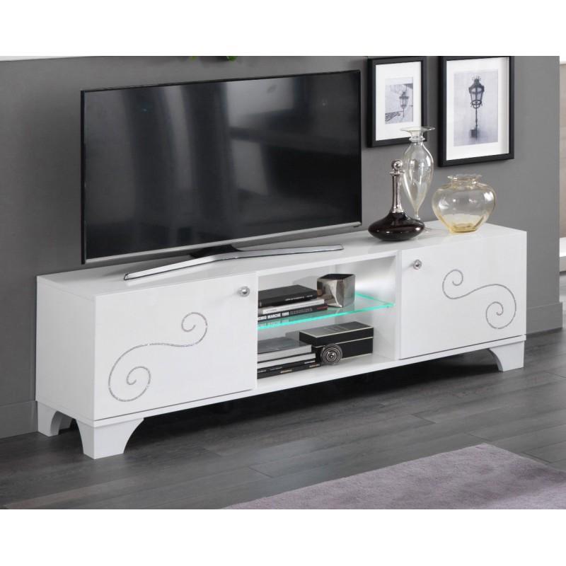 Meuble tv design 156 cm laqu blanc brillant britany matelpro - Meuble tv design 100 cm ...