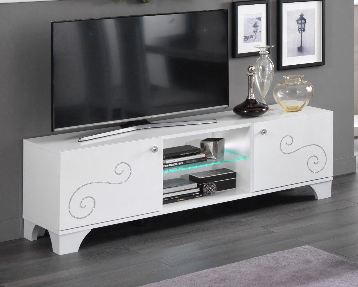 Meuble Blanc Laqué Brillant meuble tv design 156 cm laqué blanc brillant britany