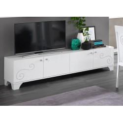 Meuble TV design 208 cm laqué blanc brillant Britany