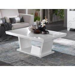 Table basse design laqué blanc brillant Britany