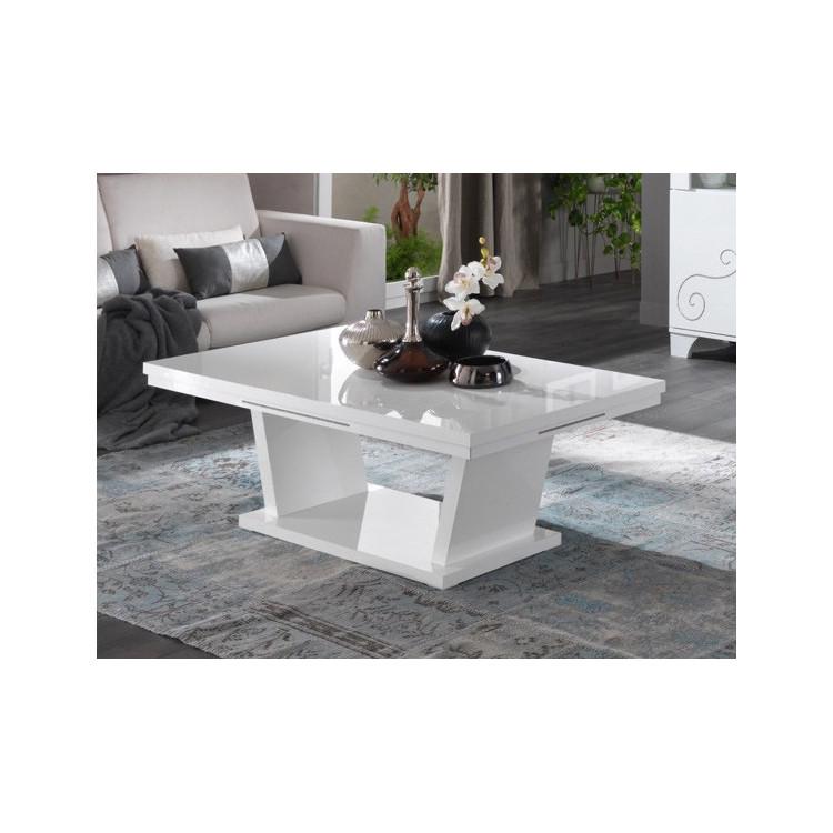 Table basse design laqué blanc brillant Britany