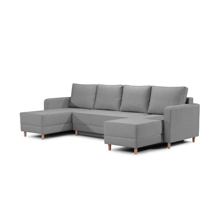 Canapé d'angle convertible contemporain en tissu gris Valerius