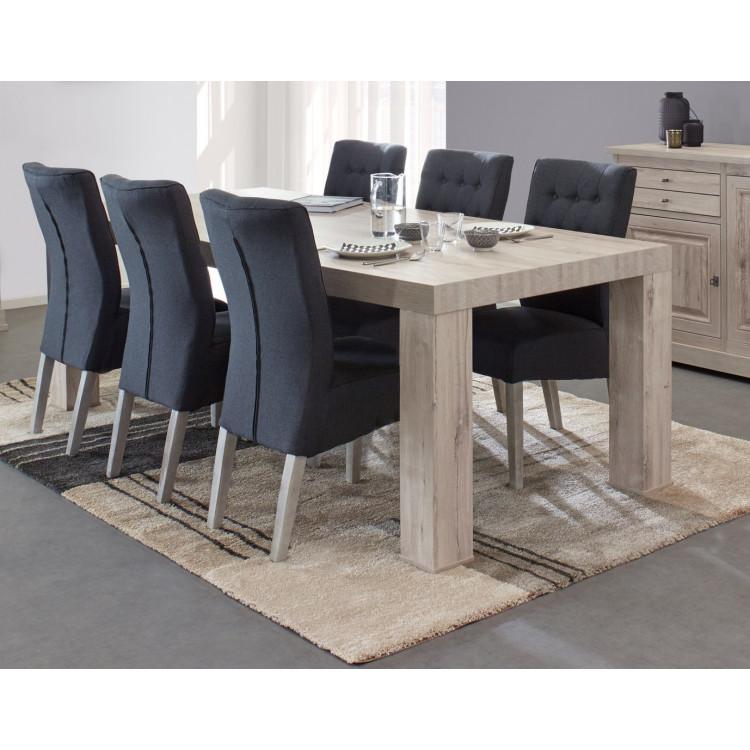 Table de salle à manger contemporaine coloris chêne gris clair Robbie I