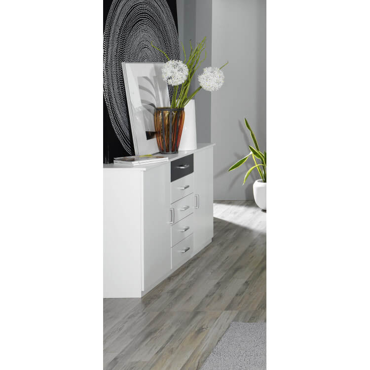 Commode adulte design 2 portes/5 tiroirs blanche et grise Selenia