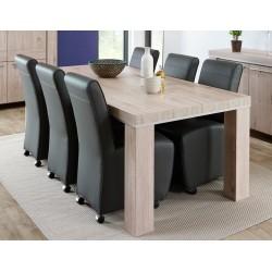 Table de salle à manger contemporaine chêne gris clair Arizona