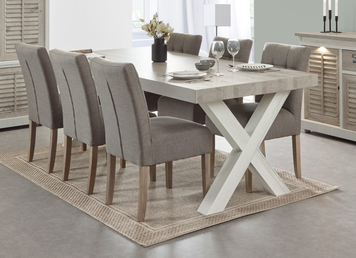 Table de salle à manger contemporaine chêne blanchi/chêne marron clair Honduras