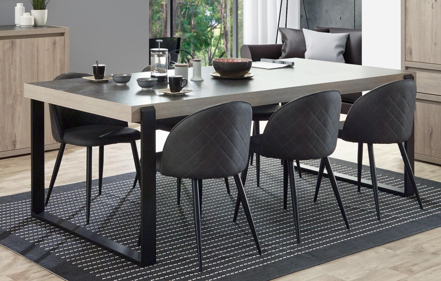 Table de salle à manger contemporaine chêne clair/gris béton California