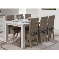 Table de salle à manger contemporaine chêne blanchi/marron clair Tapagos
