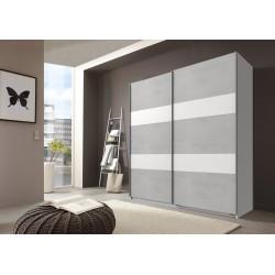 Armoire contemporaine portes coulissantes béton gris clair/blanc Sylvestre