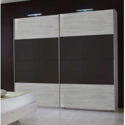 Armoire contemporaine portes coulissantes chêne blanc/graphite Zora