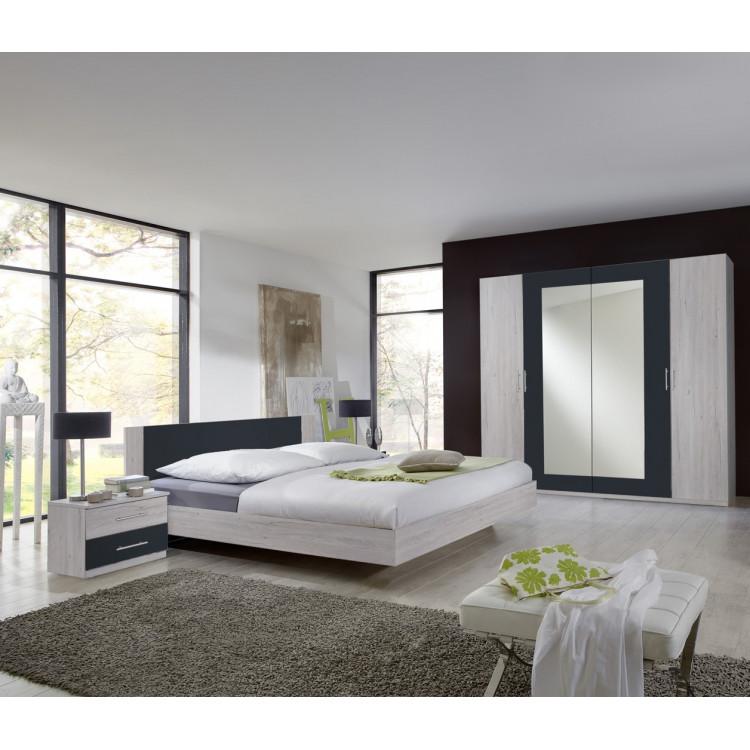 Chambre adulte contemporaine chêne blanc/graphite Zora