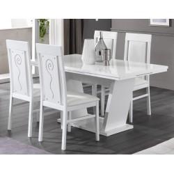 Table de salle à manger design laqué blanc brillant Britany