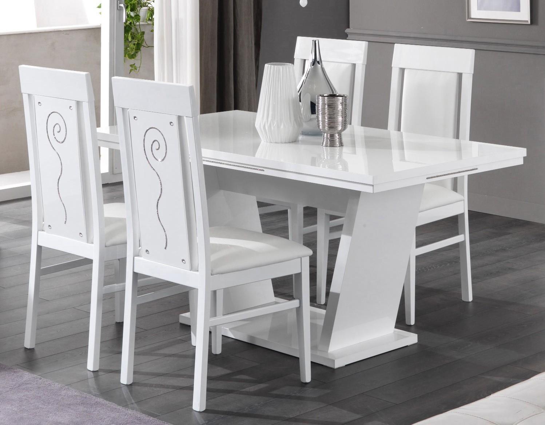 Table de salle manger design laqu blanc brillant - Table design salle a manger ...