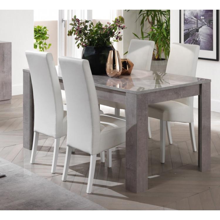 Table de salle à manger design laquée marbre Clarissa