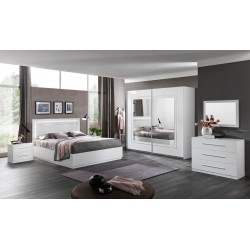 Chambre adulte design laquée blanche Clemence