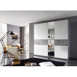 Armoire contemporaine blanche/gris béton Korel