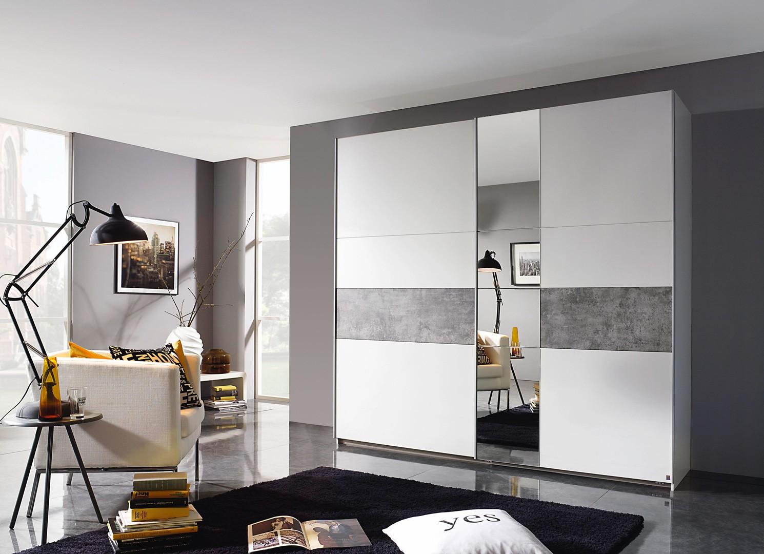 Armoire contemporaine blanc/béton Korel
