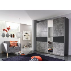 Armoire contemporaine gris béton/gris metallique Korel
