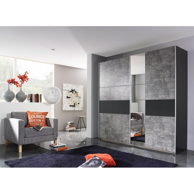 Armoire contemporaine gris béton/gris metallique Korel