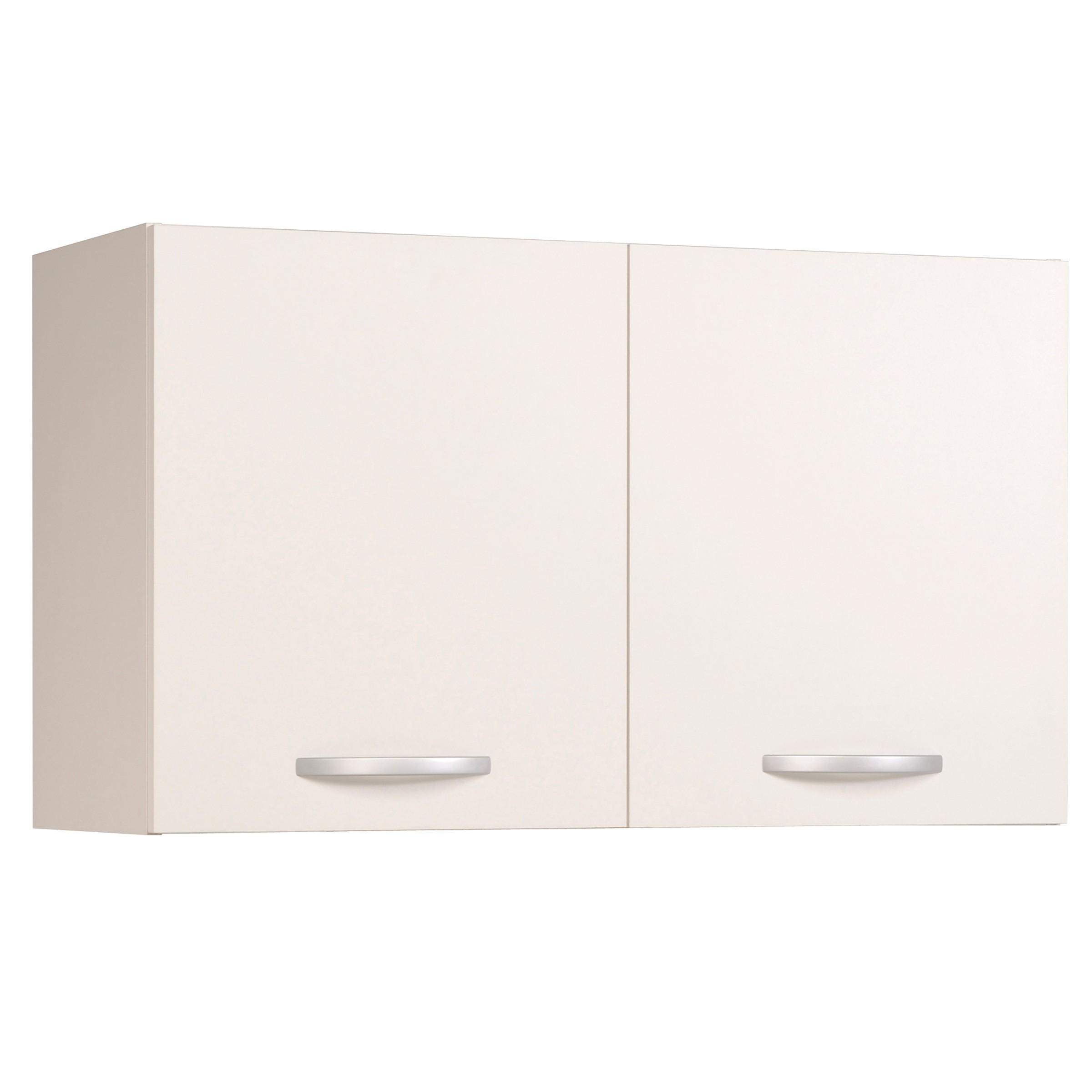 Meuble haut de cuisine contemporain 2 portes 100 cm blanc brillant Bianco