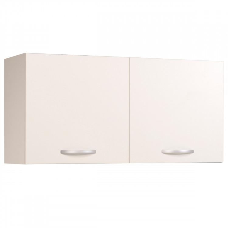 Meuble haut de cuisine contemporain 2 portes 120 cm blanc brillant Bianco
