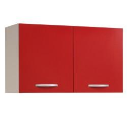 Meuble haut de cuisine contemporain 2 portes 100 cm blanc/rouge brillant Jackie