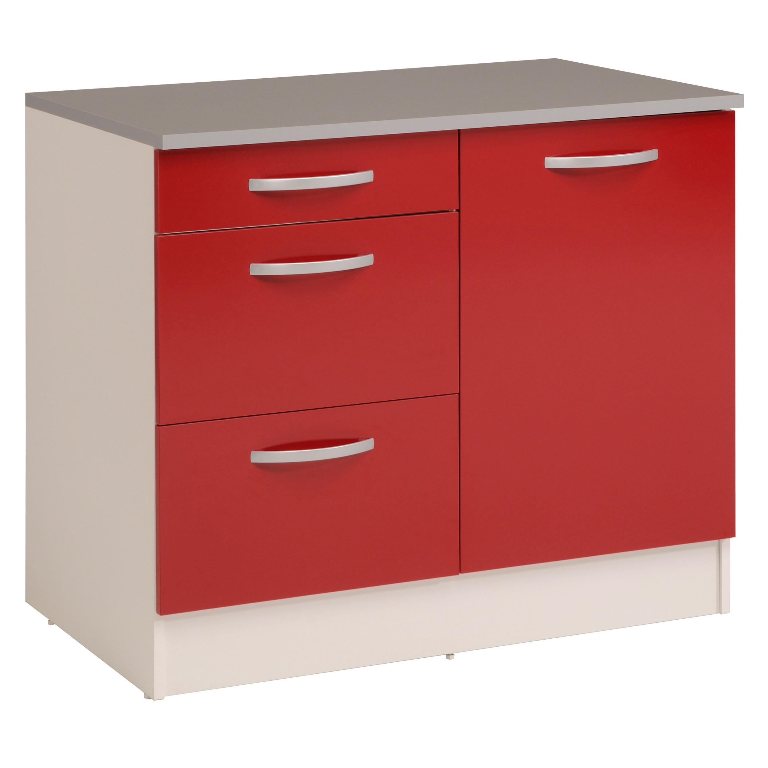 Meuble bas de cuisine contemporain 100 cm 1 porte/3 tiroirs blanc/rouge brillant Jackie