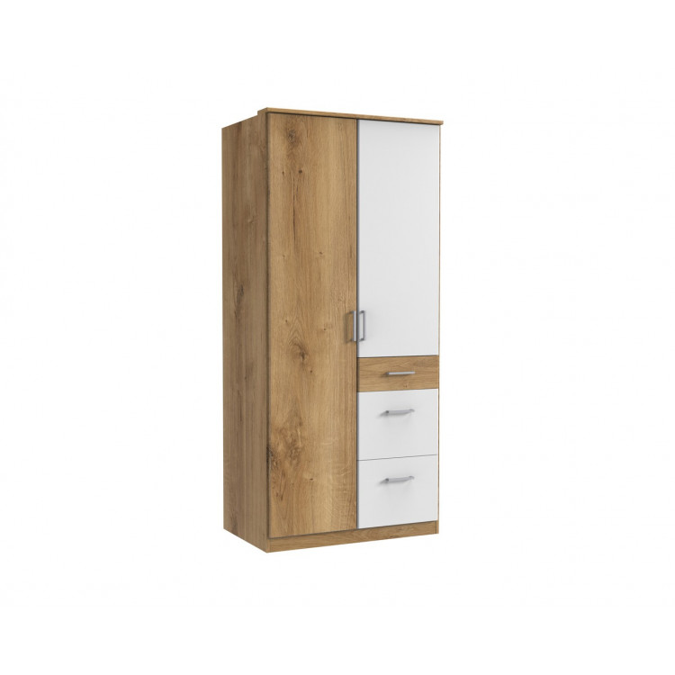 Armoire contemporaine 2 portes/3 tiroirs chêne poutre/blanc Genova