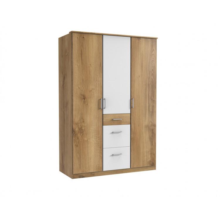 Armoire contemporaine 3 portes/3 tiroirs chêne poutre/blanc Genova