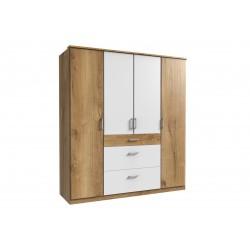 Armoire contemporaine 4 portes/3 tiroirs chêne poutre/blanc Genova