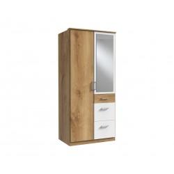 Armoire contemporaine 2 portes/3 tiroirs chêne poutre/blanc Genova I