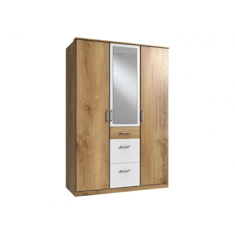 Armoire contemporaine 3 portes/3 tiroirs chêne poutre/blanc Genova I