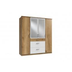 Armoire contemporaine 4 portes/3 tiroirs chêne poutre/blanc Genova I