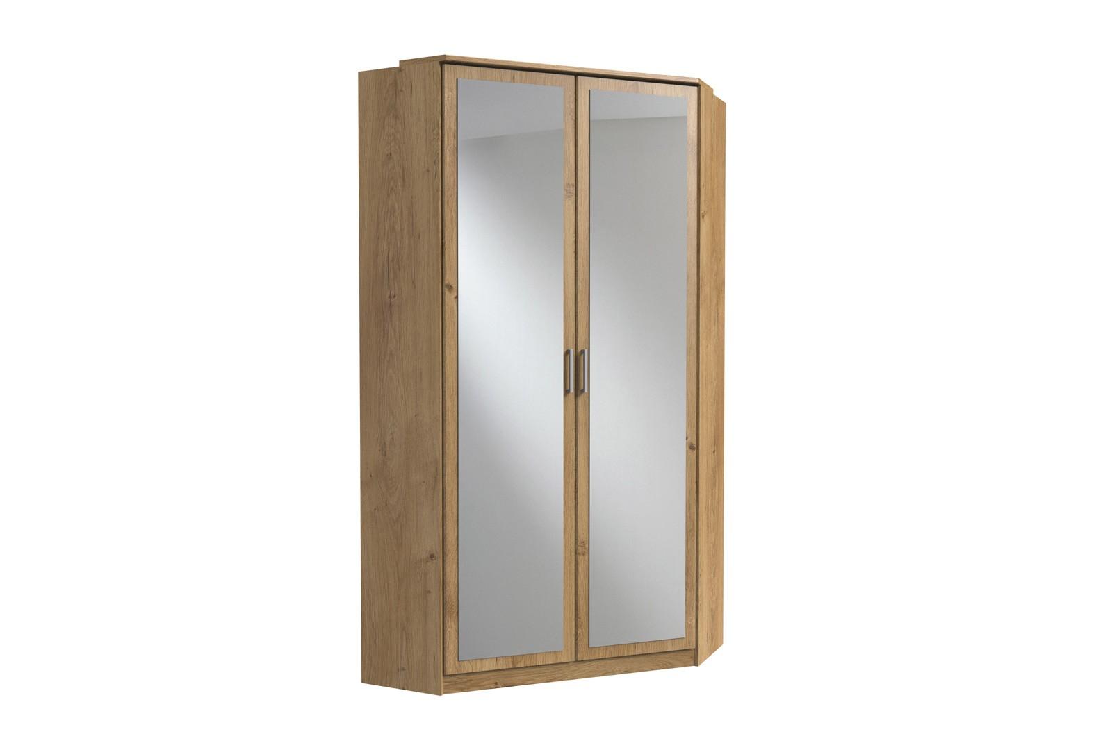 Armoire d'angle contemporaine avec miroir chêne poutre Genova