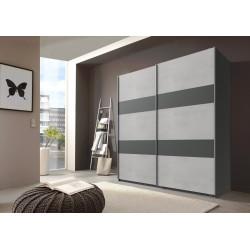 Armoire contemporaine portes coulissantes béton gris clair/graphite Sylvestre