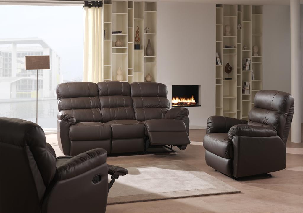Salon de relaxation manuel en cuir 3-2-1 MINA