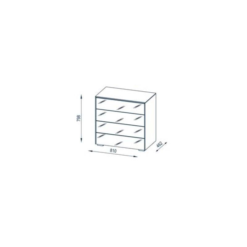 Meuble de rangement design 4 tiroirs ch ne verre blanc mat ivana matelpro - Meuble rangement verre ...
