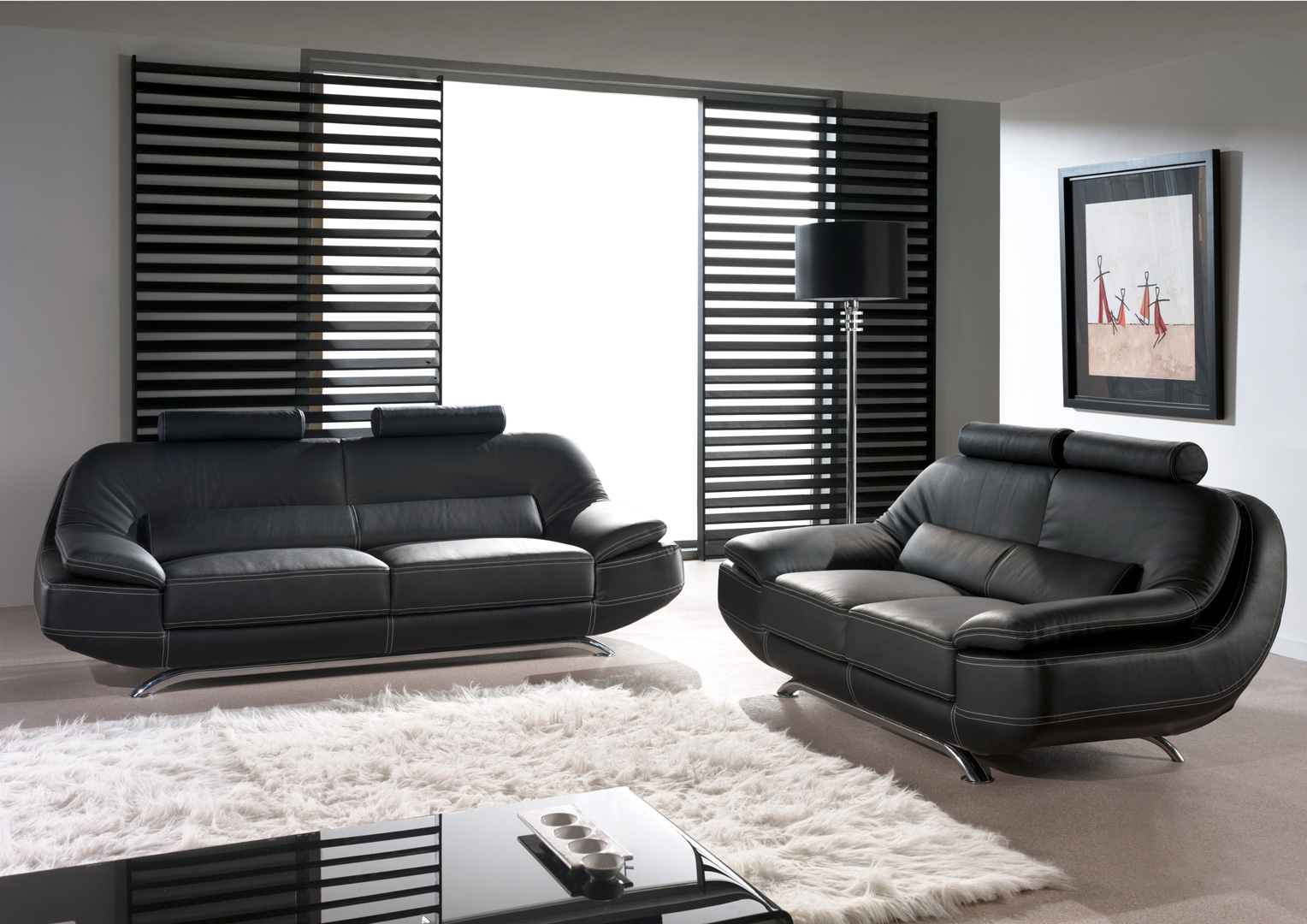 Canapé fixe 3 places en cuir MASSO